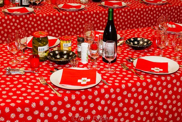 Table set for raclette