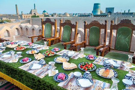 Rooftop dining Khiva