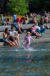 Enjoying the fountain at Washington Square