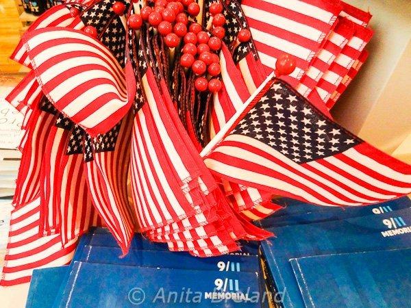 American flags at WTC Memorial