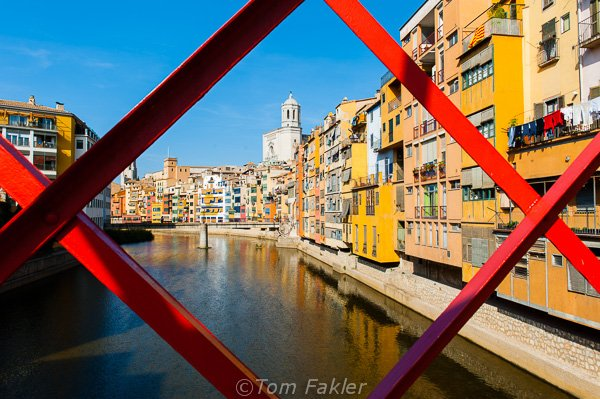 Girona's Barri Vell from the Eiffel Bridge