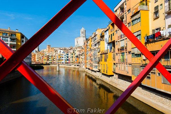Girona's Barri Vell from the Eiffel Bridge