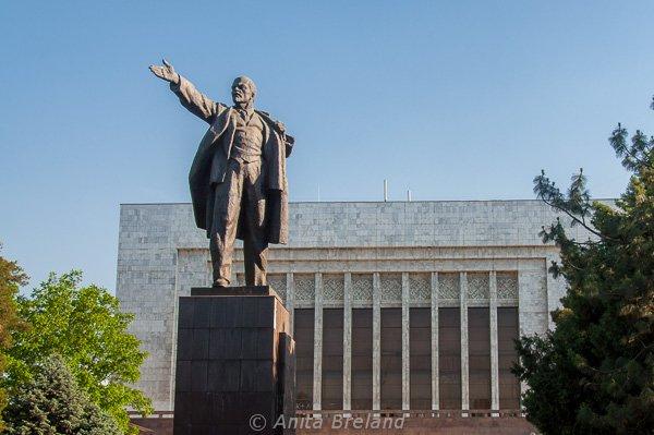 Lenin, still on his pedestal in Bishkek, Kyrgyzstan