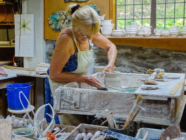Lala Howard at her potter's wheel