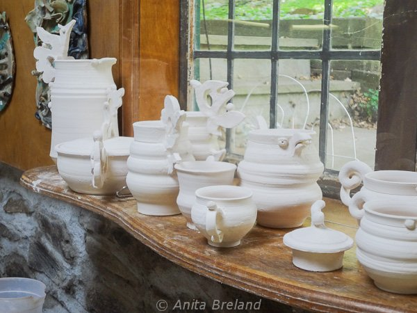 Pots waiting for the kiln