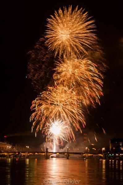 Fireworks over the Rhine in Basel, Switzerland